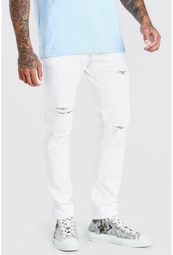 White Skinny Stretch Jeans With Multi Rips