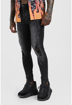 Washed black Super Skinny Distressed Jeans