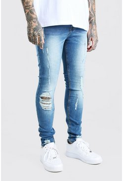 Mid blue blue Super Skinny Distressed Jeans