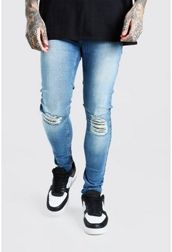 Mid blue blue Super Skinny Busted Knee Destroyed Hem Jeans