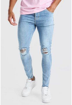 Light blue Super Skinny Busted Knee Destroyed Hem Jeans