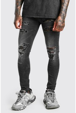 Washed black Super Skinny All Over Ripped Jean