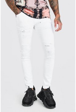 White Super Skinny All Over Ripped Jean