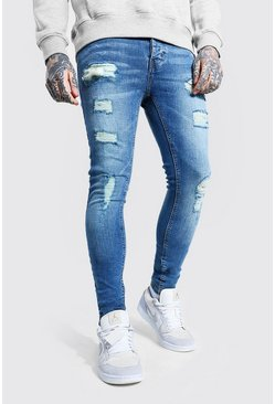Mid blue blue Super Skinny All Over Ripped Jeans