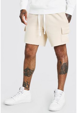 Stone MAN Print Mid Length Shorts With Raw Hem