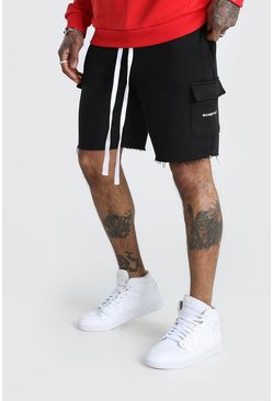 Black MAN Print Mid Length Shorts With Raw Hem