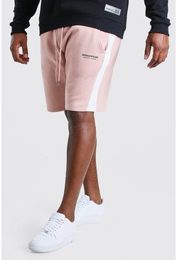 Pink Big And Tall MAN Official Shorts With Side Panel