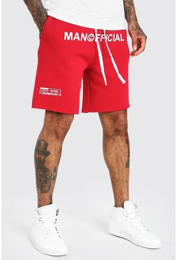 Red MAN Official Drop Crotch Printed Short