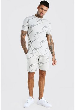 Grey All Over MAN Printed T-Shirt And Short Set
