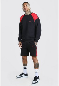 Black Original MAN Colour Block Short Tape Tracksuit