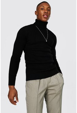 Black Muscle Fit Ribbed Roll Neck Sweater