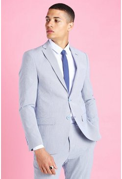 Blue blå Skinny Stripe Seersucker Suit Jacket