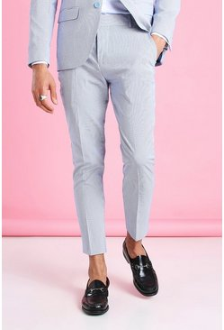 Blue Skinny Stripe Seersucker Cropped Suit Trouser