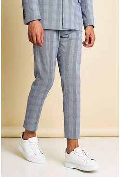 Navy Skinny Check Seersucker Cropped Suit Trouser