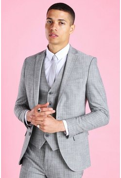Grey Super Skinny Stripe Suit Jacket