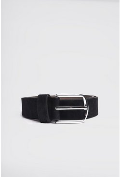 Black Faux Suede Effect Belt