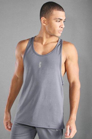 Charcoal grey MAN Active Gym Racer Vest