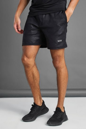 Black Man Active Tonal Camo Shorts