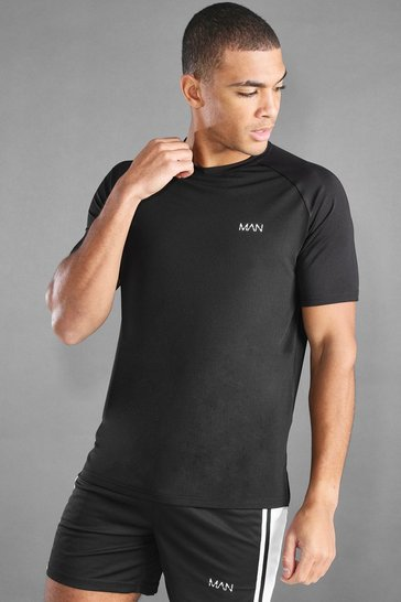 Black MAN Active T-Shirt With Split Hem