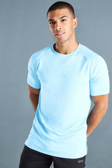 Light blue blue MAN Active T-Shirt With Spilt Hem