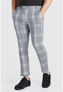 Blue Skinny Check Smart Trouser