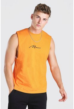 Orange MAN Signature Drop Armhole Tank