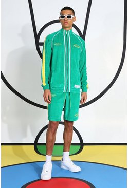 Green Tall Velour Funnel Neck Short Tracksuit