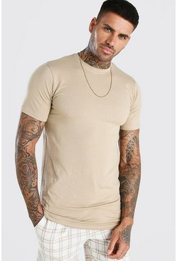 Taupe beige Longline Muscle Fit T-Shirt