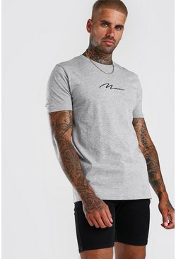 Grey grå Man Signature T-shirt med brodyr