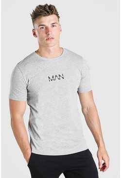 Grey grå Original MAN T-shirt med tryck