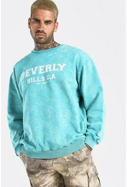 Aqua Oversized Beverly Hills Acid Wash Sweat