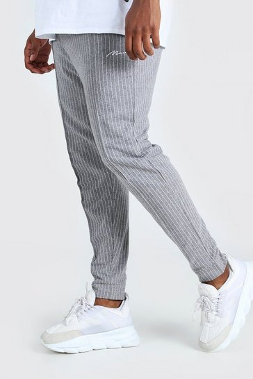 Grey Plus Size MAN Pinstripe Jacquard Joggers