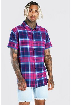 Purple Short Sleeve Check Shirt With Raw Hem