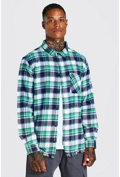 Green Long Sleeve Ombre Oversized Raw Hem Check Shirt