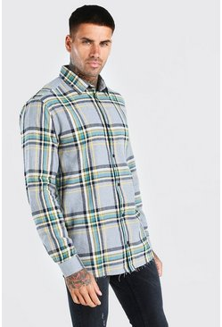 Grey Long Sleeve Check Shirt