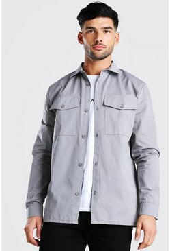Grey Twill Utility Over Shirt
