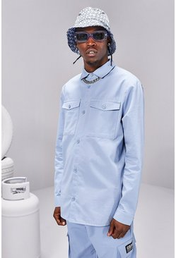 Light blue blue Twill Utility Over Shirt