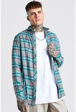 Grey Long Sleeve Longline Viscose Check Shirt