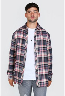 Pink Long Sleeve Longline Viscose Check Shirt