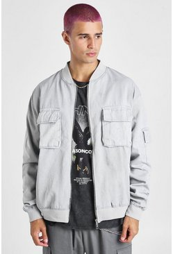 Grey Acid Wash Bomber Jacket