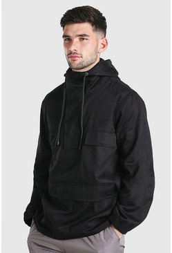 Black Twill Overhead Front Pocket Jacket