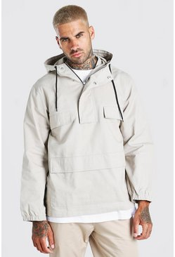 Grey Twill Overhead Front Pocket Jacket