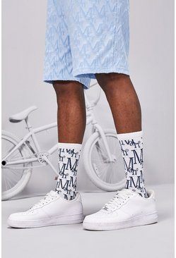 White 2 Pack MAN Monogram Sock