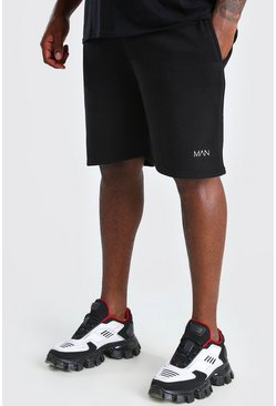 Black Plus Size MAN Mid Length Jersey Short