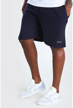 Navy Plus Size MAN Mid Length Jersey Short