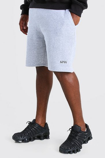 Grey marl grey Plus Size MAN Mid Length Jersey Short