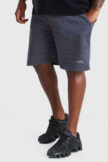 Charcoal grey Plus Size MAN Mid Length Jersey Short