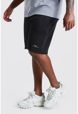 Shorts de punto con inscripción MAN Big And Tall, Negro