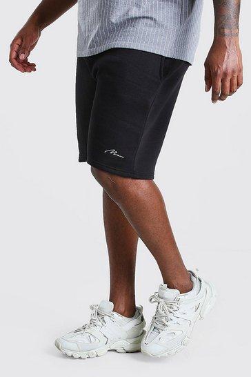 Black Plus Size MAN Script Jersey Short