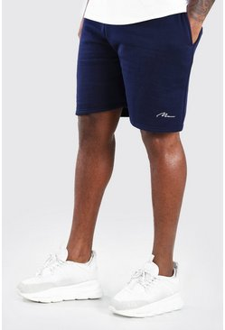Navy marinblå Big & Tall - Man Script Shorts i jersey
